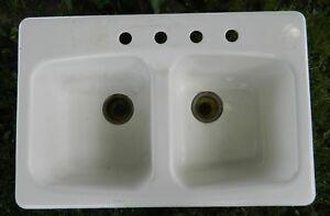 Details about VTG Kohler Double Bowl 4-hole Cast Iron Kitchen Sink K-5942  33 x 22-LOCAL P/U