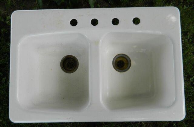 VTG Kohler Double Bowl 4-hole Cast Iron Kitchen Sink K-5942 33 x 22-LOCAL  P/U