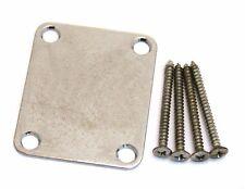 AP-0600-007 Relic Chrome 4-Hole Neck Plate w/ Aged Screws Guitar/Bass Neckplate