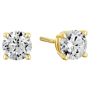 1-00-Cttw-Round-Cut-Diamond-Solitaire-Stud-Earrings-10K-Solid-Yellow-Gold