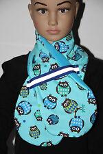 Bufanda azul-Fleece-lechuzas-con cinta reflectora-jóvenes 3-12 años dawanda