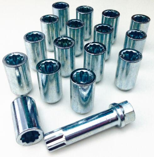 16 x tuner slim nut M12 x 1.5 Ford Cars 17mm Hex star key for alloy wheels