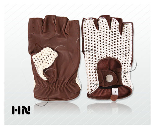 MENS LEATHER DRIVING GLOVES HAND KNITTED COTTON CROCHET VINTAGE FASHION HERITAGE