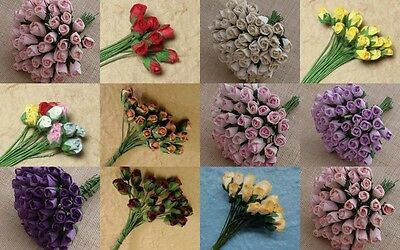 PACK 10  BEAUTIFUL4MM ROSE BUDS FOR CARDS AND CRAFTS 11 COLOURS TO CHOOSE