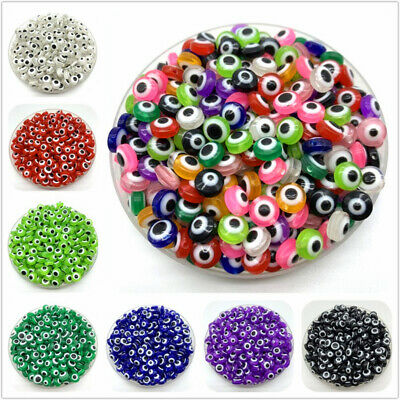 6//8//10mm Resin Spacer Beads Round Evil Eye Beads Stripe Beads For Jewelry Making