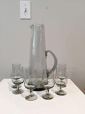 Holmegaard Glass Martini Cocktail Pitcher & 6 Stems Orig Labels Per Lütken 1957