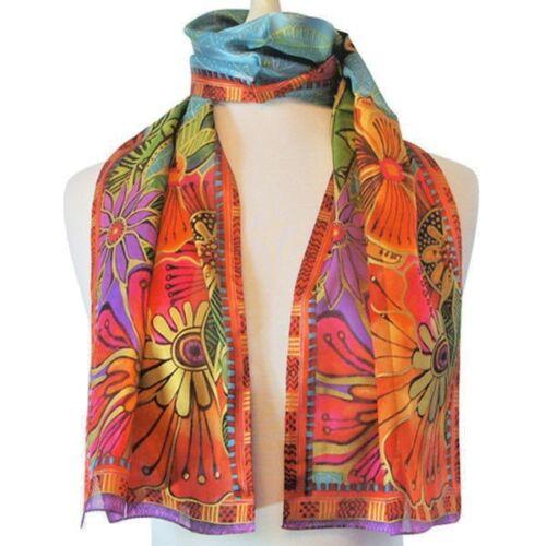 "Laurel Burch Red and Orange Tropical Floral Art 100/% Silk Scarf 11/"" x 53/"""