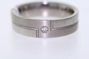 Gewissenhaft Herren Titan 0.08ct Diamant Akzent 7mm Ehering