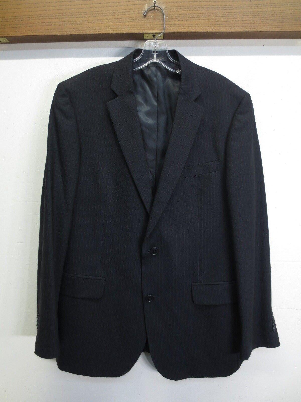 EUC John Varvatos USA Bedford Blazer Wool 2 Button 2 Vent Navy Stripe Sz 42R