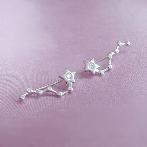 Solid 925 Sterling Silver Bezel CZ Star Big Dipper Cuff Climber Crawler Earrings
