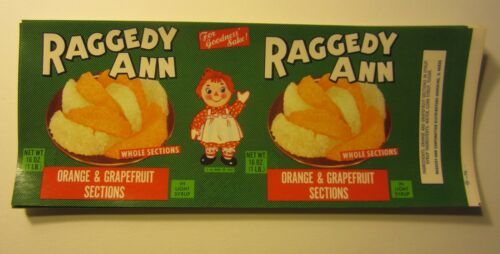 RAGGEDY ANN Wholesale Lot of 50 Old Vintage Fruit CAN LABELS DOLL