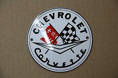 Enamel Sign Chevrolet Corvette ø10 cm.