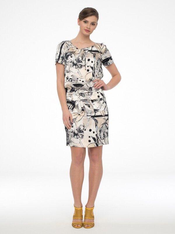 Damen Kleid Shirtkleid Satinkleid mit Gummizug Knielang Kurzarm Gr. 44