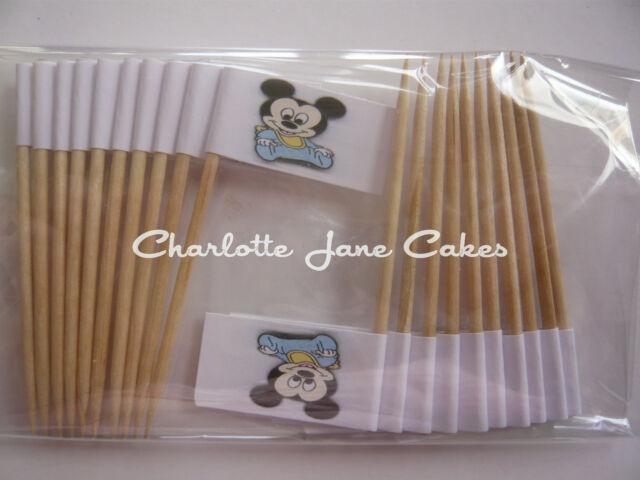 20 CUPCAKE FLAGS/TOPPERS - BABY MICKEY MOUSE CHILDRENS BIRTHDAY PARTY