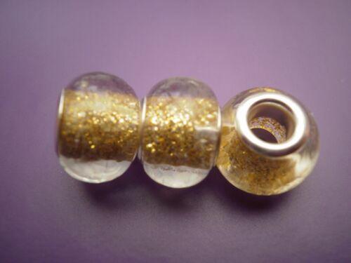 fit //for European charm bracelets 3  Gold glitter Murano glass beads
