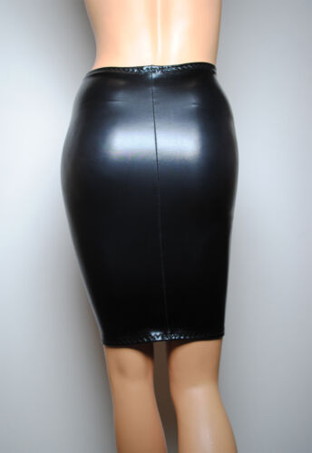 Sexy Womens effetto P33 Fetish Latex Bodycon nero tubino Faux bagnato Lycra Gonna Pvc qxTOwvnx7