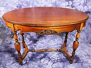 Furniture Tables United Amber Mahogany Oval Occasional Table Carved End Side Lamp Coffee Dining Server
