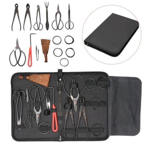 Bonsai Tool Set Carbon Steel Extensive 10pcs Kit Cutter Scissors With Case Black
