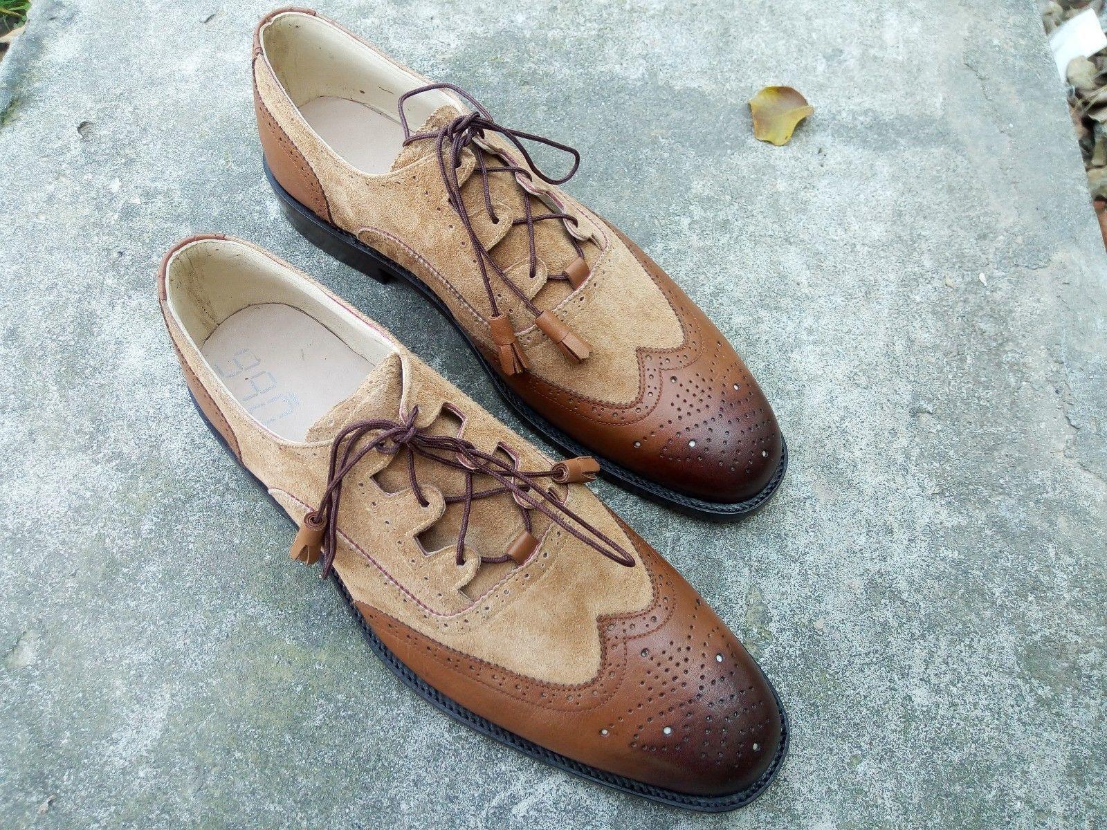 esclusivo Handmade Uomo two tone scarpe, Marrone leather leather leather and suede scarpe, beige wingtip shoe  incredibili sconti