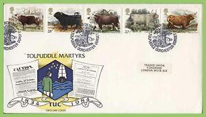 Conjunto-de-Graham-Brown-1984-ganado-en-primer-dia-cubierta-oficial-TUC-Tolpuddle-Dorchester