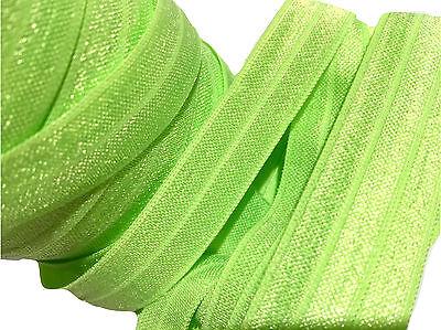 """10 yards Acid green 5//8/"""" fold over elastic FOE DIY baby headbands /& hair ties"""