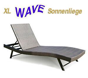 """Polyrattan SONNENLIEGE """"Wave"""" Gartenliege Geflechtliege Lounge Relaxliege Design"""