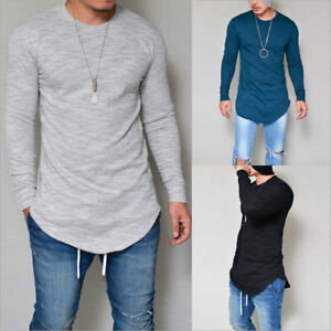 Fashion-Men-039-s-Slim-Fit-V-Neck-Long-Sleeve-Muscle-Tee-T-shirt-Casual-Tops-Blouse