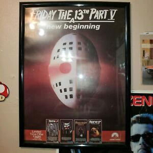 Rare-Friday-The-13th-Jason-Vorhees-Friday-The-13th-Part-V-VHS-Poster-In-Frame