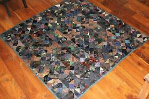 Very-Rare-Antique-19th-Century-Victorian-Hand-Made-Silk-Patch-Quilt-66-034-x-66-034