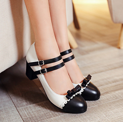 Womens Sweet Girls Pieced Strap Bowknot Lace Mary Jane Oxford Shoes UK 2-11 J529