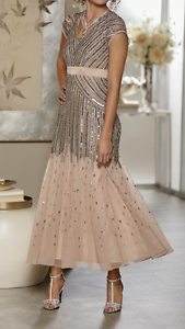 8d46ebd0a58 Image is loading Ashro-Giovanna-Gown-Beaded-Dress-Champagne-NEW-NWT