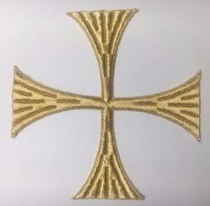 Vintage-Cuadrado-Cruz-6-034-Bordado-para-Coser-Oro-un-C262-Maltes-Emblema-Parche-2