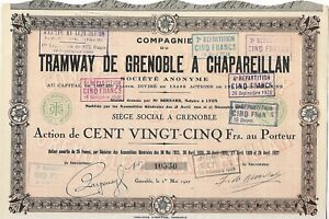 Compagnie du Tramway de Grenoble a Chapareillan action de 125 Frs 1927