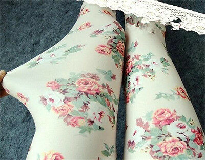 New Fashion Women's Retro Flower Printed Elasticity Thin Leggings Tight Pants