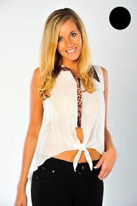 Chiffon-Blouse-Animal-Print-Collar-Sheer-Sleeveless-Shirt-Top-Ladies-Brand-New