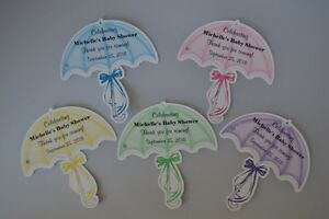 UNIQUE PERSONALIZED BABY SHOWER PARTY FAVOR GIFT TAGS SHAPED LIKE UMBRELLA  CUTE