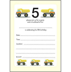 10 childrens birthday party invitations 5 years old boy trucks image is loading 10 childrens birthday party invitations 5 years old filmwisefo