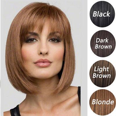 Blonde Black Bob Wigs Side Part Bang Full Wigs Straight