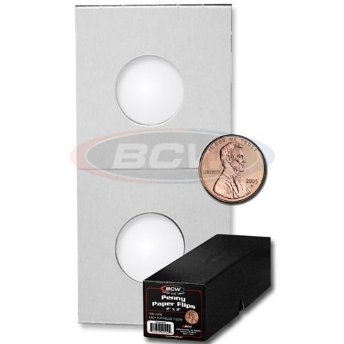 "Set of 100 New BCW Penny Paper Flips 2/""x2/"" Free Shipping"