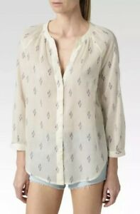 PAIGE White Evening Blue Orchid Ikat Blouse Button Down Top NEW NWT $159 Sz S