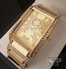 Mens Luxury Hip Hop Gold Plated Lab Diamond Geneva Bling Iced Out Wrist Watch