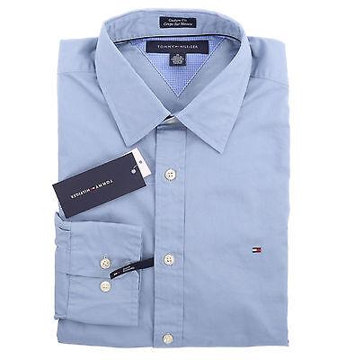 Tommy Hilfiger Men Long Sleeve Custom Fit Solid Blue Button Down Shirt - $0 Ship