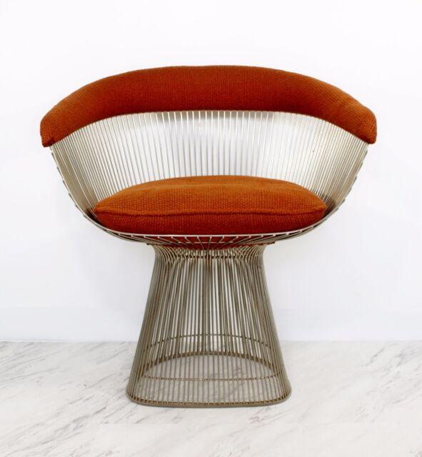 mid century modern warren platner for knoll orange steel wire lounge chair