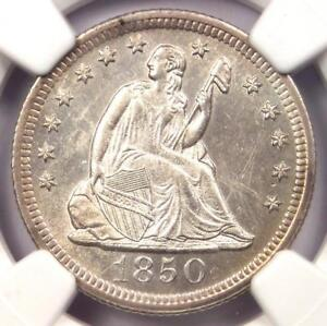 1850-O Seated Liberty Quarter 25C. NGC Uncirculated Detail (UNC MS) - Rare Coin!