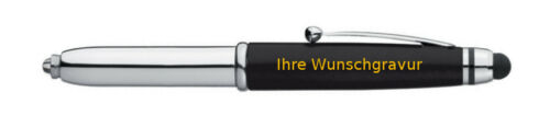 Farbe LED Touchpen Kugelschreiber mit goldfarbender Gravur silber-schwarz