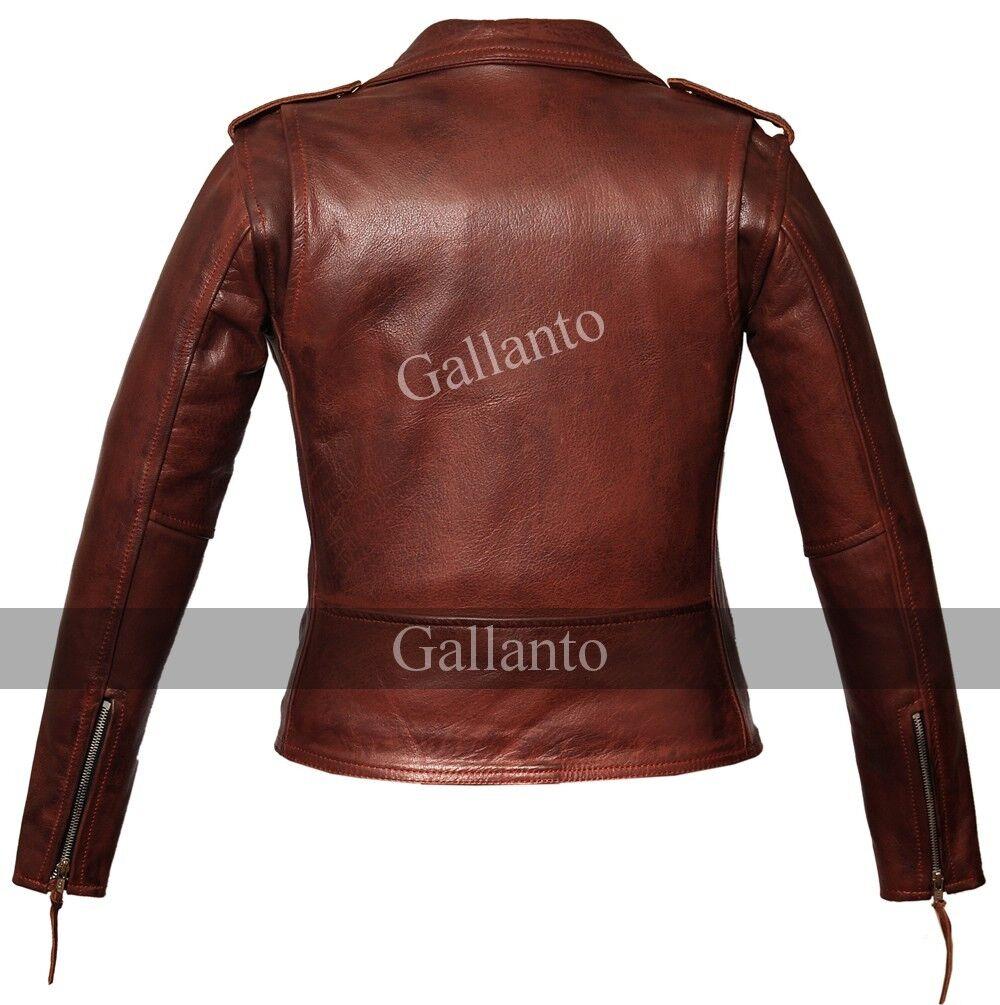 Clásico Mujer Rojo MARLON BRANDO Moto Estilo Estilo Estilo Motociclista Chaqueta de cuero 323207