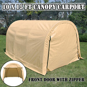 Outdoor Car Storage >> Details About 10x15ft Canopy Carport Car Shed Shelter Outdoor Wood Haystack Storage Cover Tent