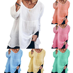 Plus-Size-Women-Long-Sleeve-T-Shirt-Plain-Tops-Blouse-Loose-Fit-Casual-Pullover