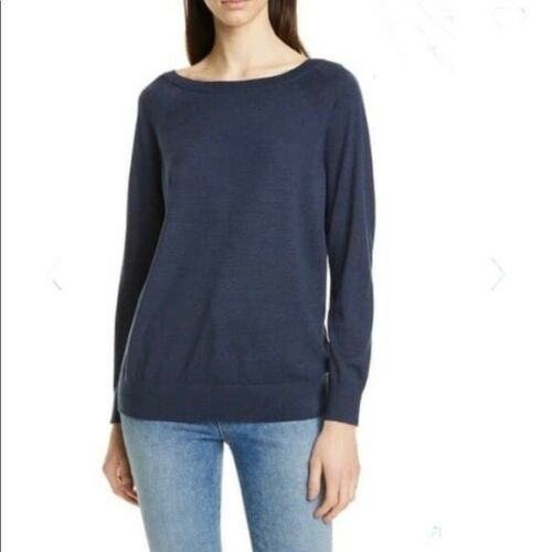 Theory Navy Relaxed Boatneck Merino Wool Sweater S