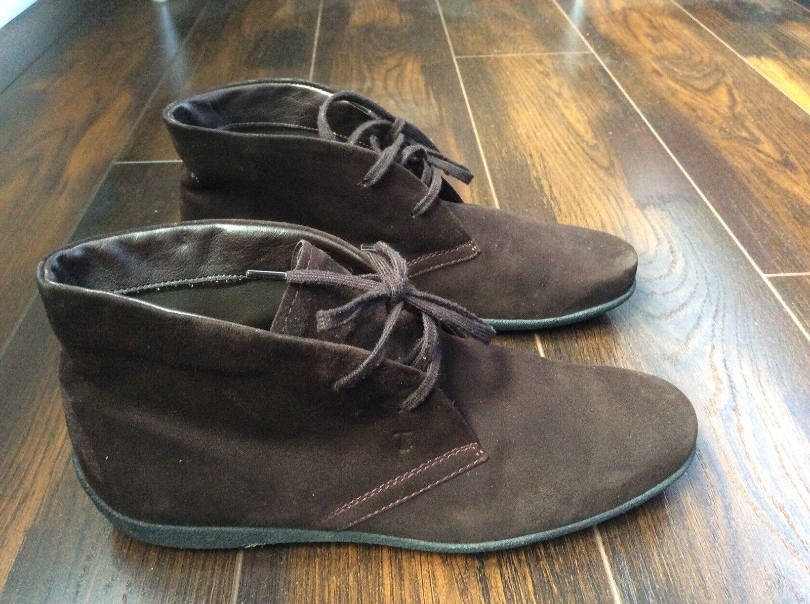 Tods Damenschuhe Braun Suede Leder Driving Driving Leder Ankle Stiefel Stiefel ... 8f0707